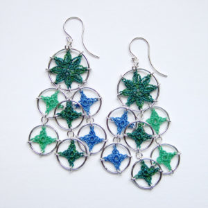 Cascade earrings in greens and blues