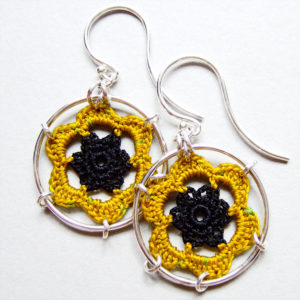 Black and yellow silk peony earrings