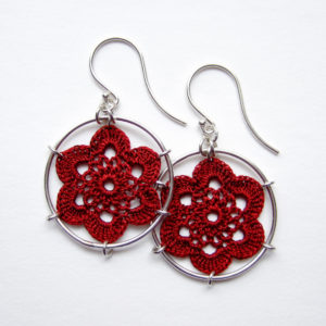 Shell earrings, brick red silk thread
