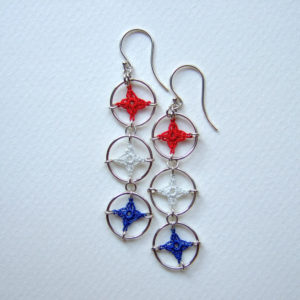Red, white and blue spangle earrings