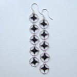 Quintuple Spangles earrings in black silk, sterling silver