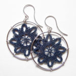 Bubble earrings in denim cotton, sterling silver