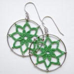 Lotus earrings in light green cotton, sterling silver