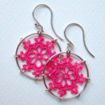 Nautical earrings in hot pink cotton, sterling silver