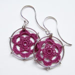 Peony earrings in lavender cotton, sterling silver