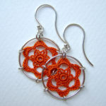 Peony earrings in orange silk, sterling silver