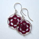 Peony earrings in maroon silk, sterling silver