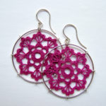 Scallops earrings in fuchsia cotton, sterling silver