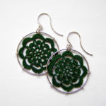 Serendipity earrings in dark green silk, sterling silver