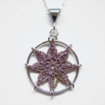 Compass Rose necklace in putty cotton, sterling silver