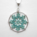 Nautical necklace in soft green cotton, sterling silver