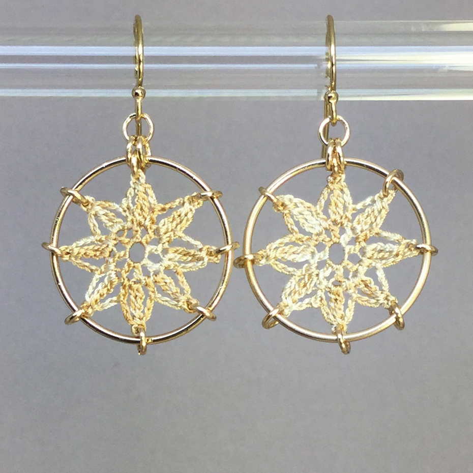 Compass Rose earrings, gold, french vanilla thread