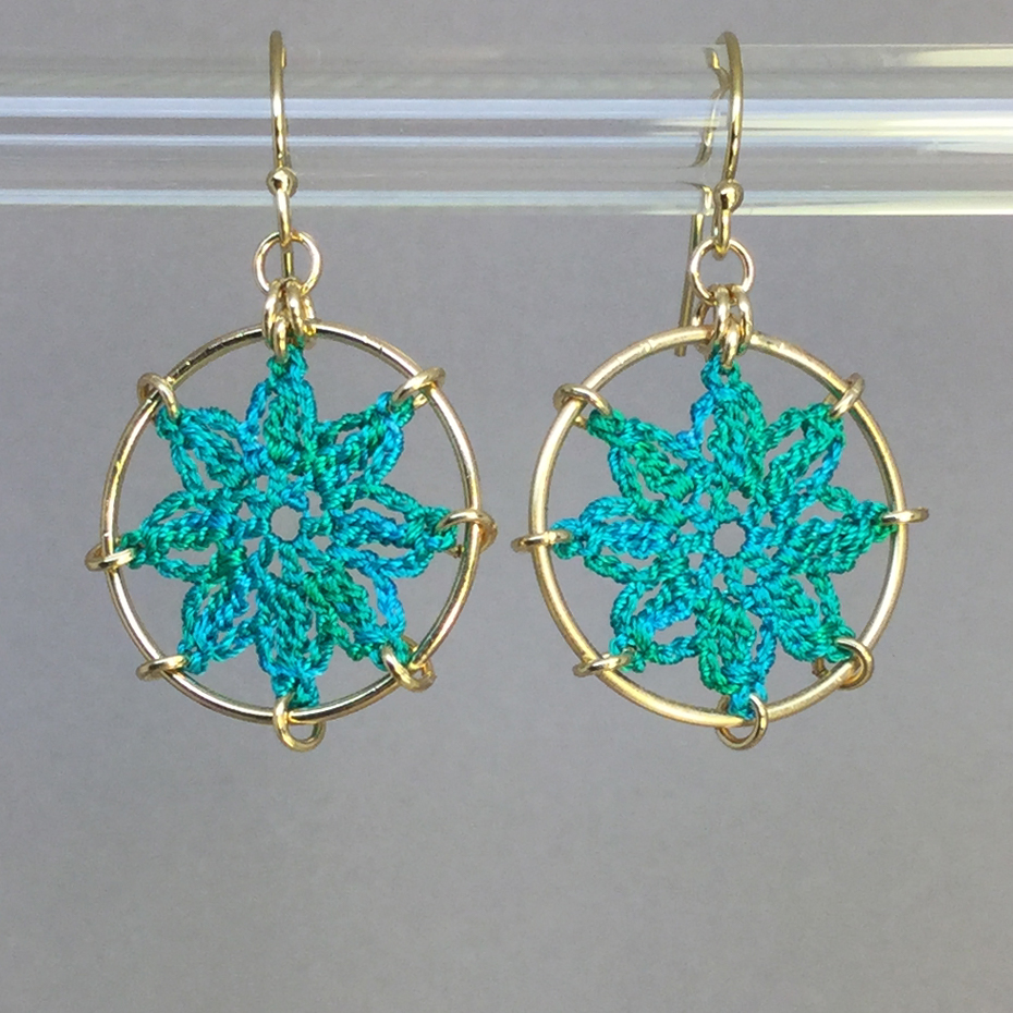Compass Rose earrings, gold, shamrock green thread