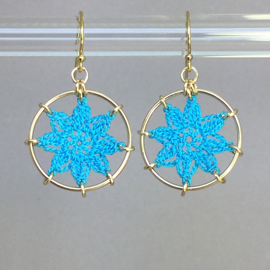 Compass Rose earrings, gold, turquoise thread
