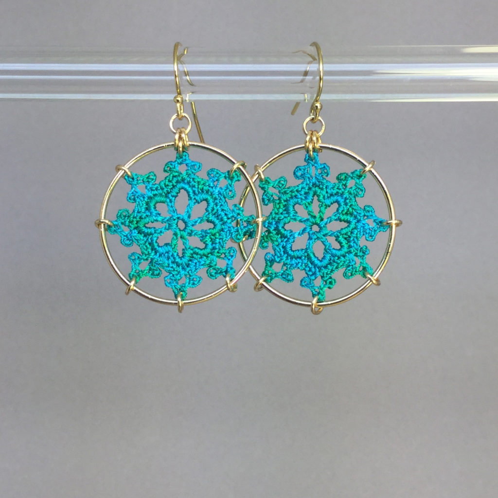 Nautical earrings, gold, shamrock green thread