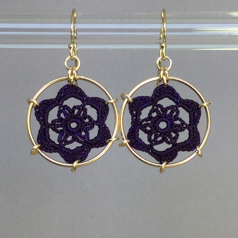 Peony earrings, gold, purple thread