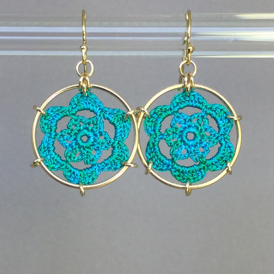 Peony earrings, gold, shamrock green thread