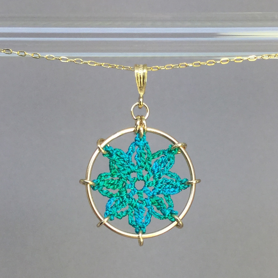 Compass Rose necklace, gold, shamrock green thread