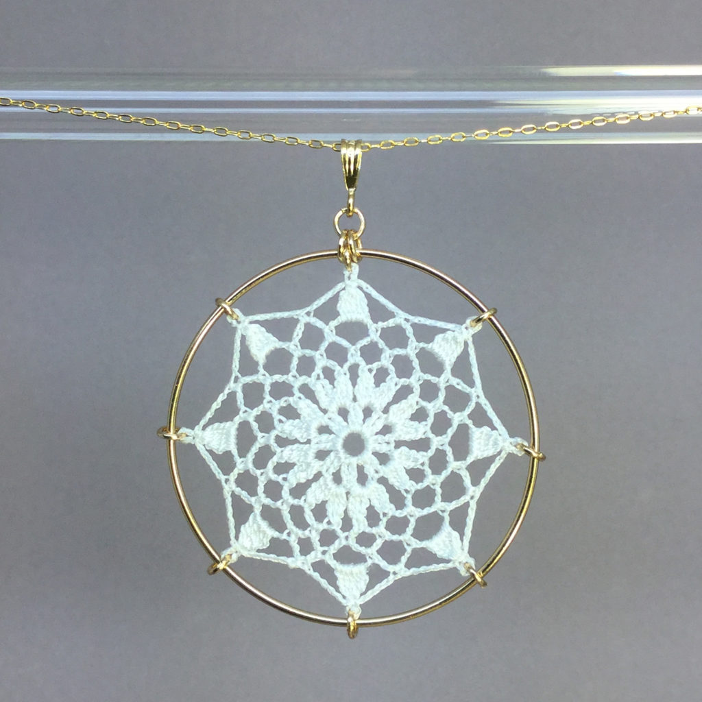 Mandala necklace, gold, white thread