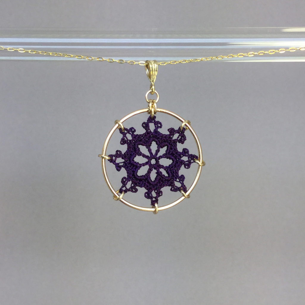 Nautical necklace, gold, purple thread