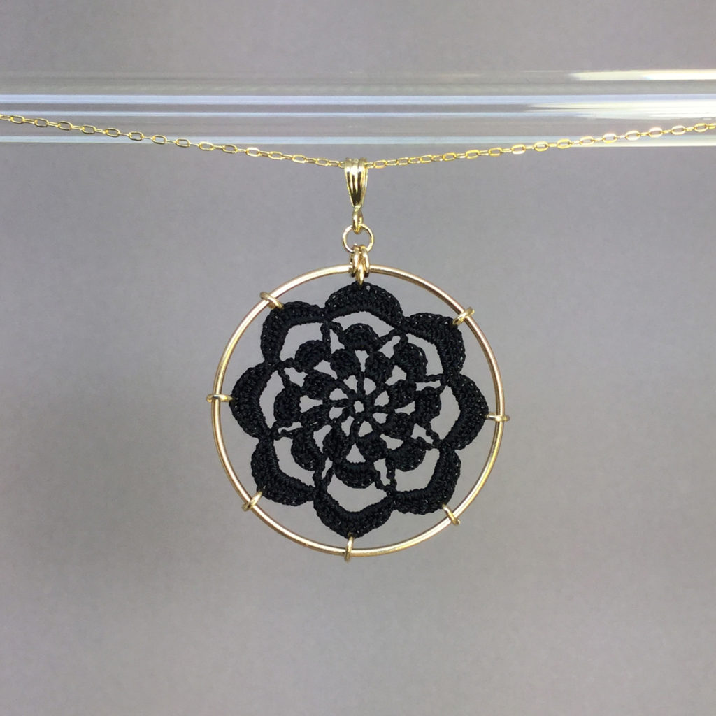 Serendipity necklace, gold, black thread