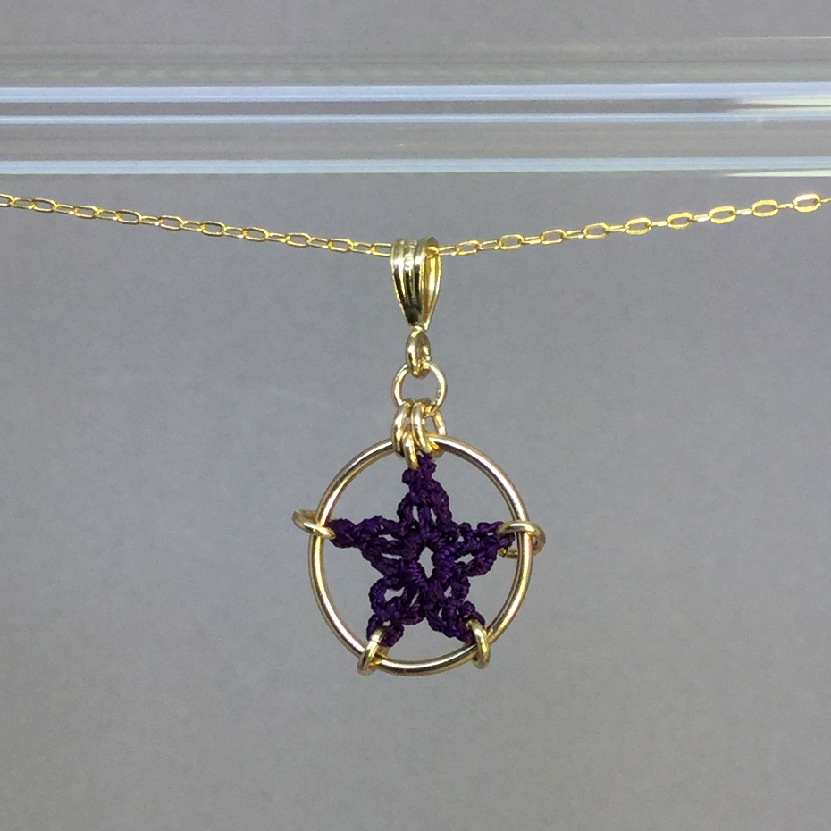 Star necklace, gold, purple thread