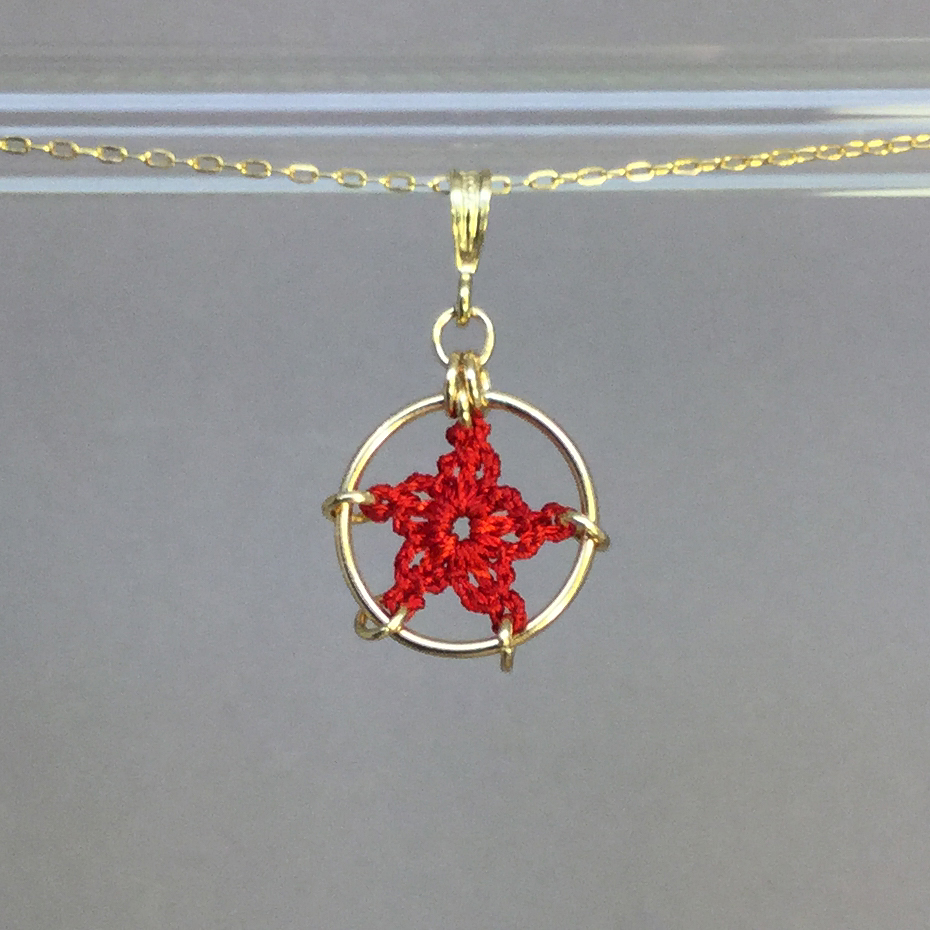 Star necklace, gold, red thread