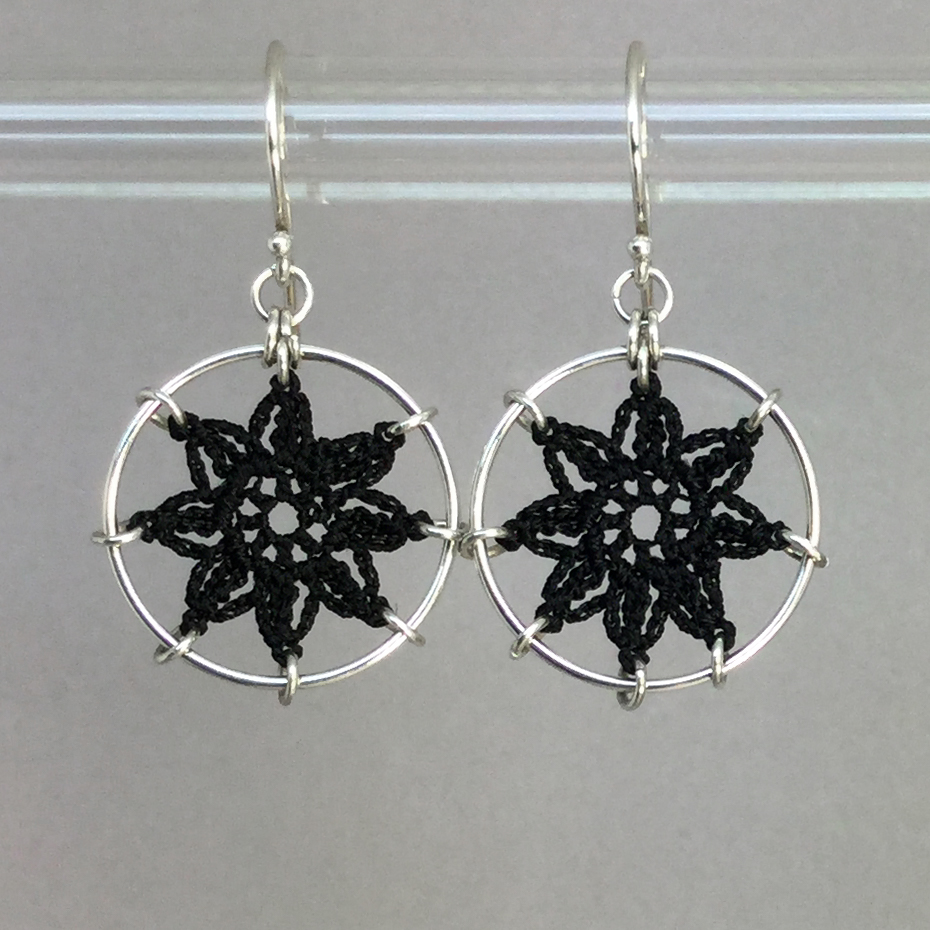 Compass Rose earrings, silver, black thread