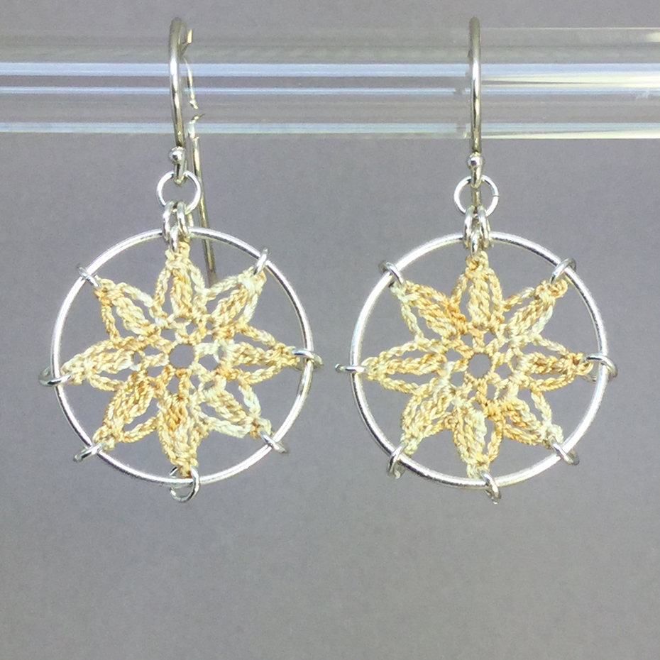 Compass Rose earrings, silver, french vanilla thread
