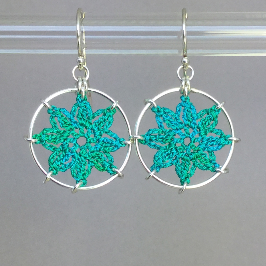 Compass Rose earrings, silver, shamrock green thread