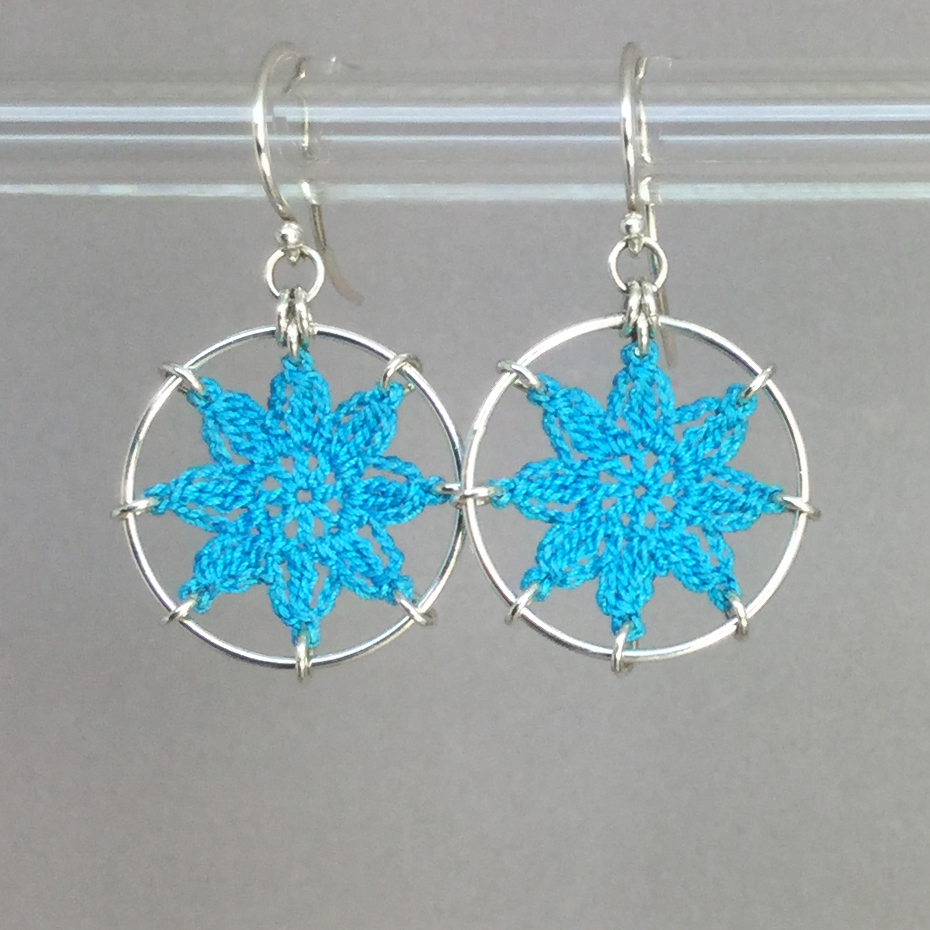 Compass Rose earrings, silver, turquoise thread