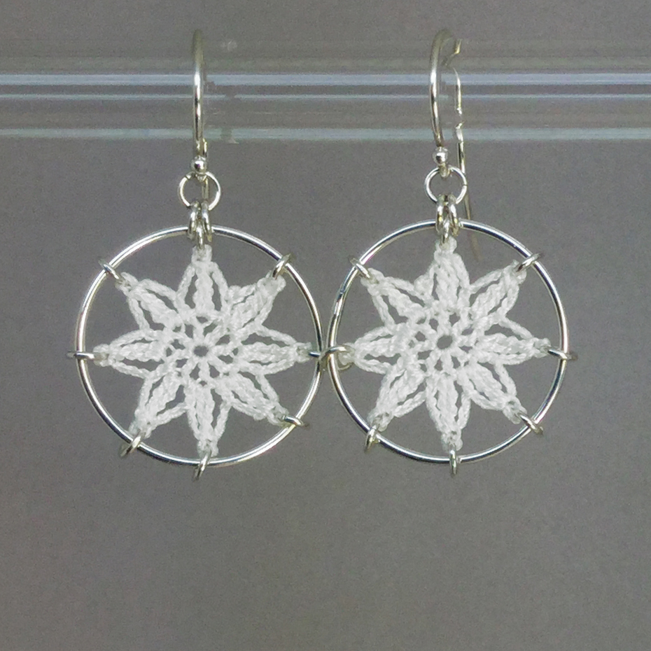 Compass Rose earrings, silver, white thread