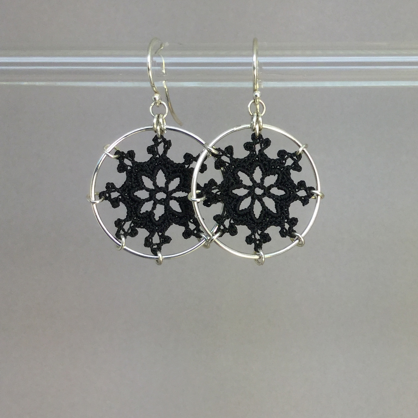Nautical earrings, silver, black thread