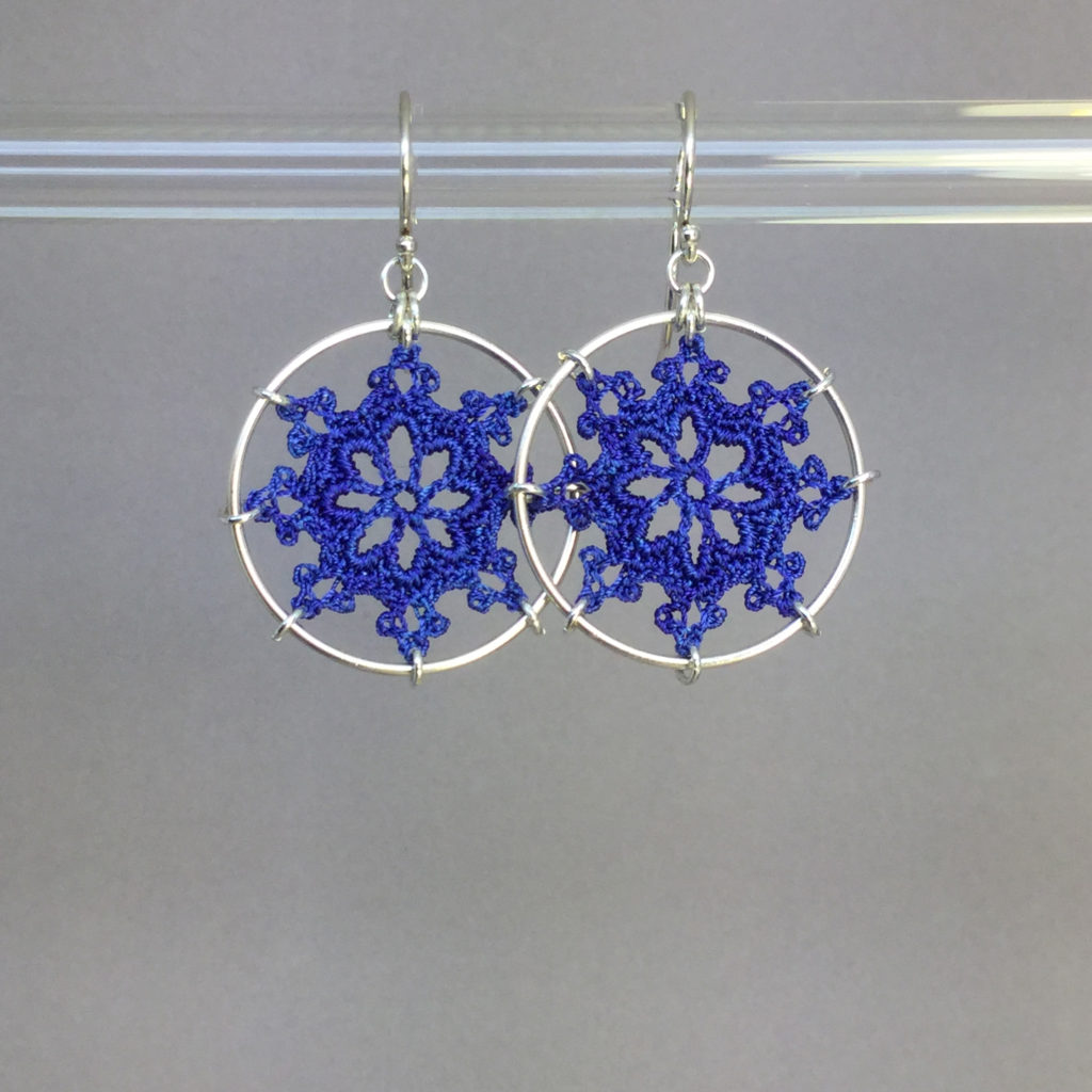 Nautical earrings, silver, blue thread