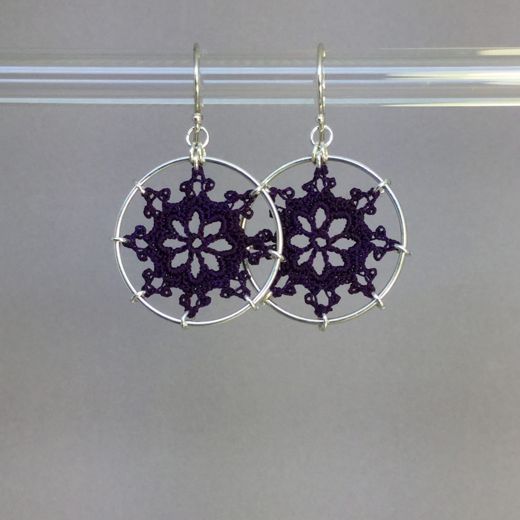 Nautical earrings, silver, purple thread
