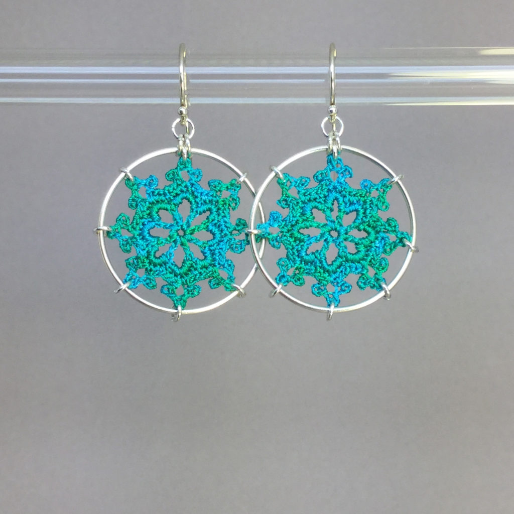 Nautical earrings, silver, shamrock green thread