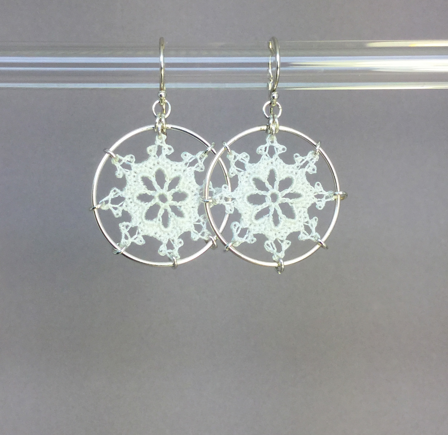 Nautical earrings, silver, white thread