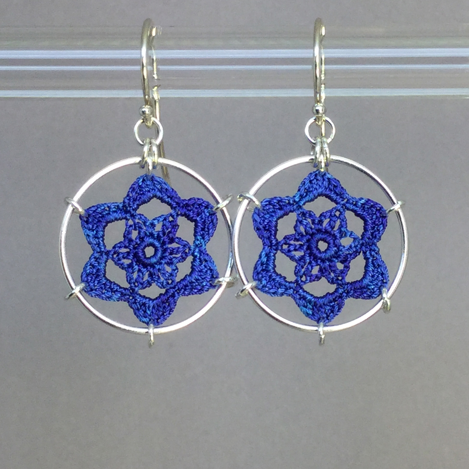 Peony earrings, silver, blue thread