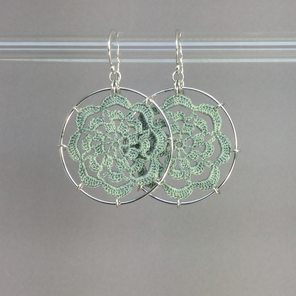 Serendipity earrings, silver, seafoam thread
