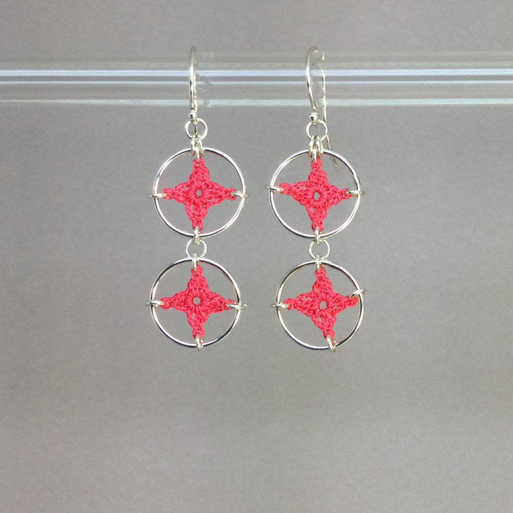 Spangles 2 earrings, silver, pink thread