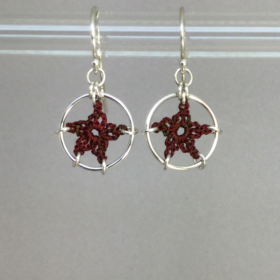 Stars earrings, silver, chile thread