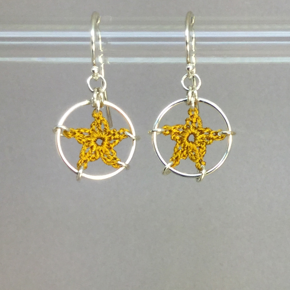 Stars earrings, silver, ochre thread