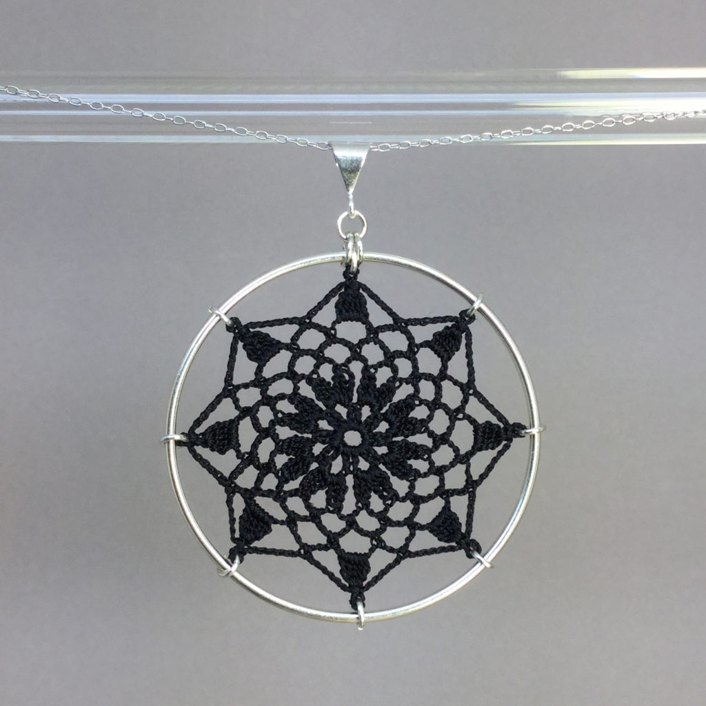 Mandala necklace, silver, black thread