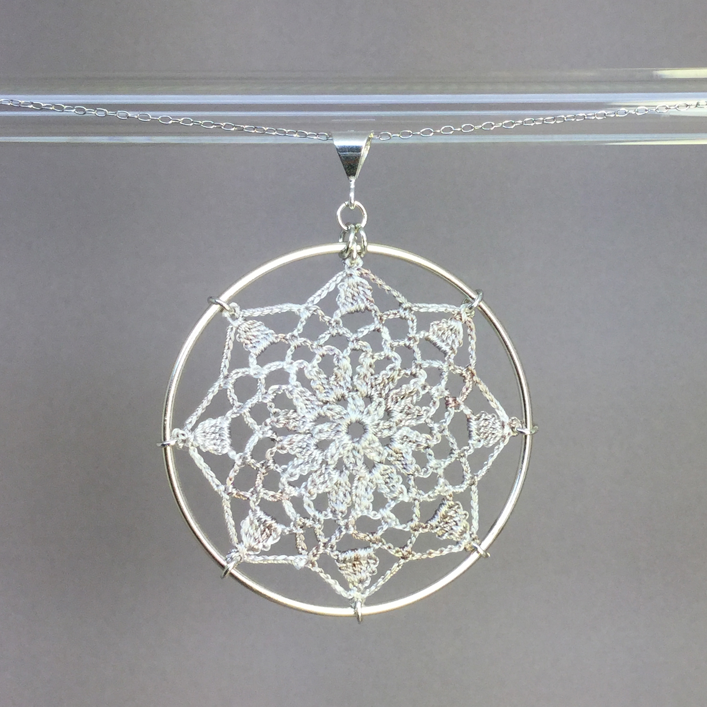 Mandala necklace, silver, pearly thread