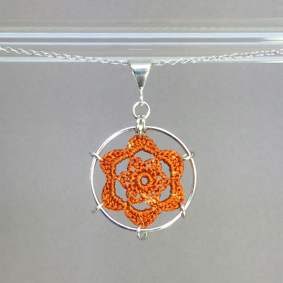 Peony necklace, silver, orange thread