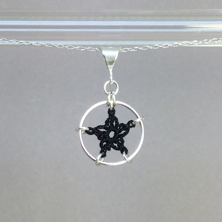 Star necklace, silver, black thread