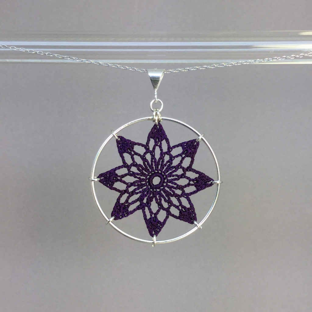 Tavita necklace, silver, purple thread