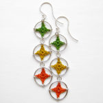 Triple spangles earrings in citrus colors