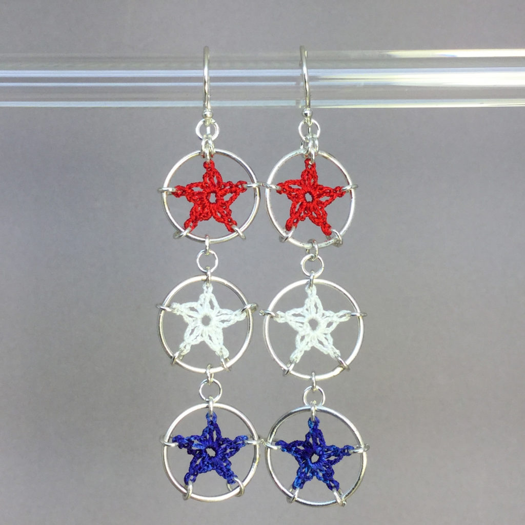 Stars earrings, silver, red white blue