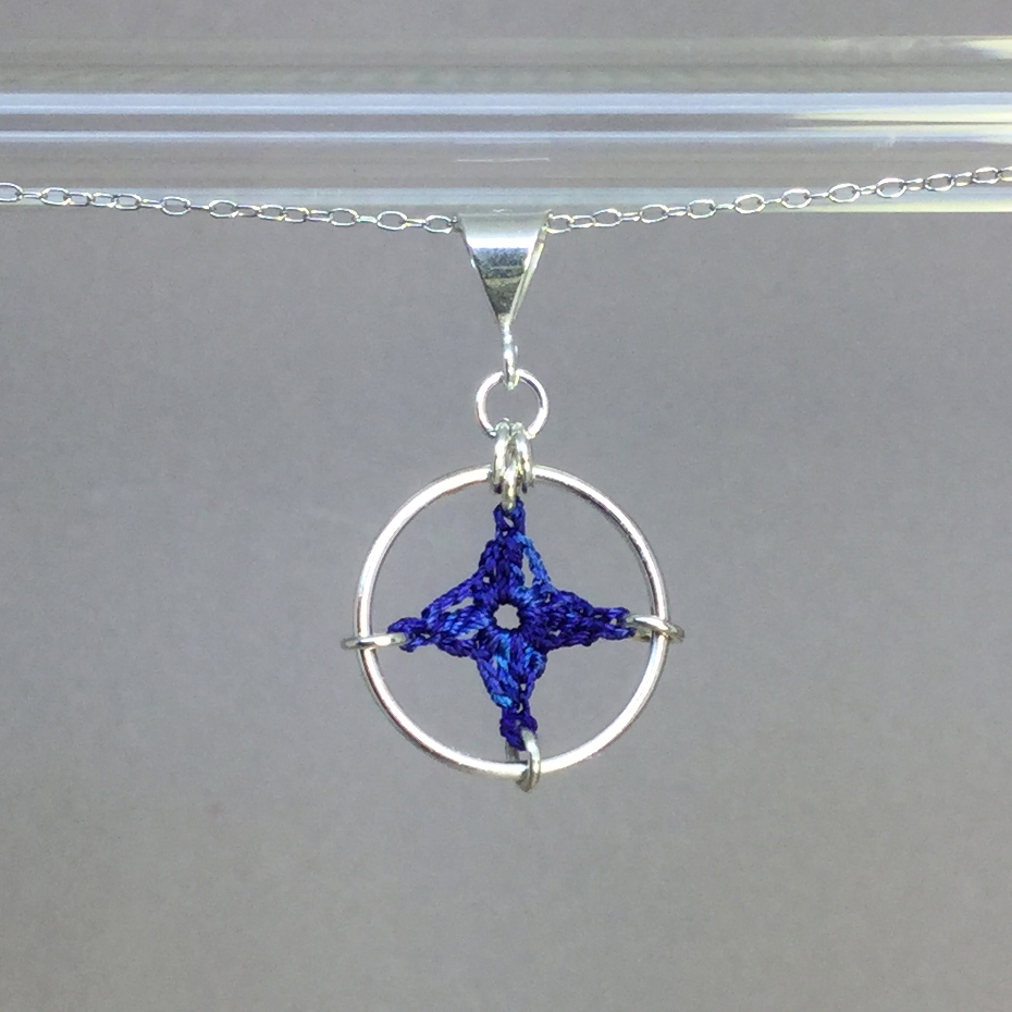 Spangles 1 necklace, silver, blue